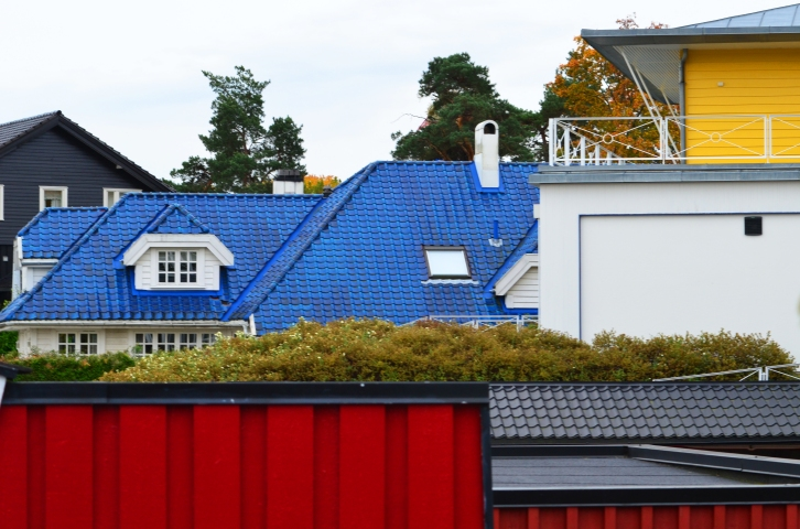 Houses near the water in Oslo, Norway. (Photo by Clay Myers-Bowman)