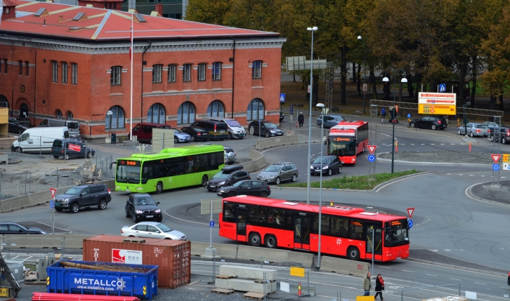 Buses from the rooftop of the Oslo Opera House. (Photo by Clay Myers-Bowman)