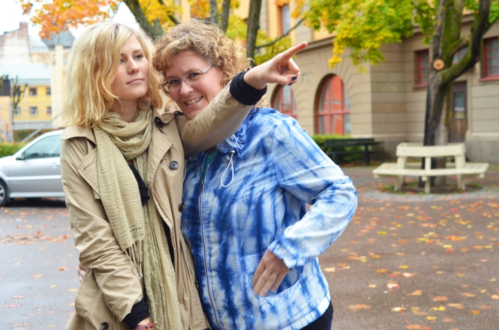 Karen and Ellen in Orebro during our visit last fall. (Photo by Clay Myers-Bowman)