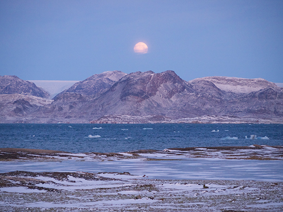 Moonrise over Svalbard. Photo by Chantal Bilodeau.