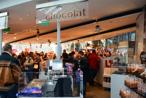 A chocolate gift shop. Inside the Chocolate Museum. Just settle down people. There's enough for everyone!