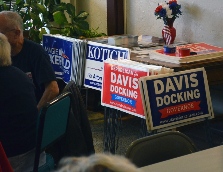 Signs in the Democrat HQ.